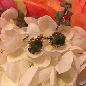 Jewelry - True vintage jade and gold earrings